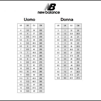 conversione numeri scarpe new balance